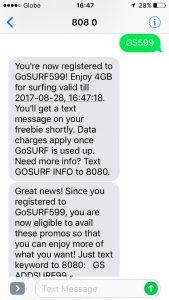 GlobeGoSURF設定